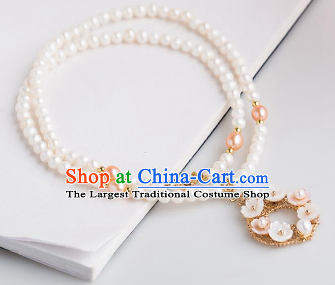 Handmade Chinese Classical Shell Flowers Necklace Ancient Palace Hanfu Pearls Necklet Accessories for Women