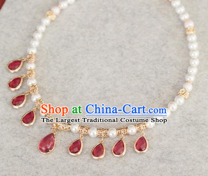 Handmade Chinese Classical Red Crystal Necklace Ancient Palace Hanfu Pearls Necklet Accessories for Women