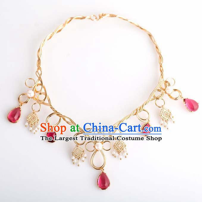 Handmade Chinese Classical Golden Necklace Ancient Palace Hanfu Necklet Accessories for Women