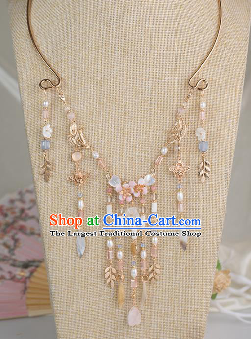 Handmade Chinese Classical Pearls Tassel Necklace Ancient Palace Hanfu Necklet Accessories for Women
