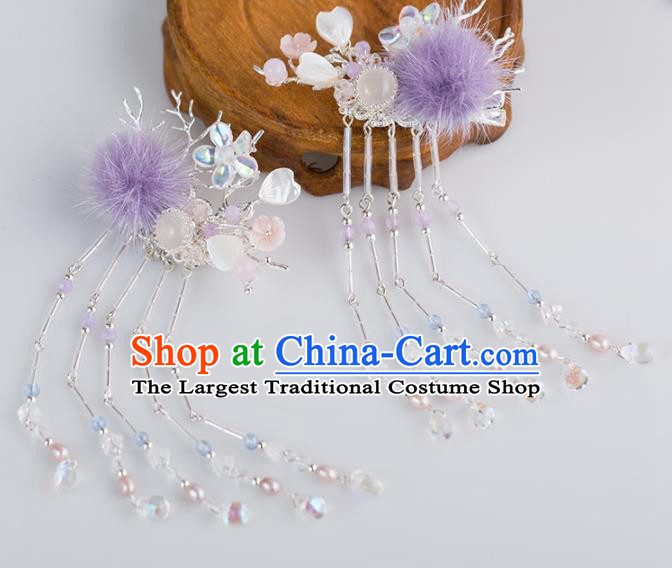 Chinese Handmade Pearls Tassel Hair Claws Hairpins Ancient Princess Hair Accessories Headwear for Women