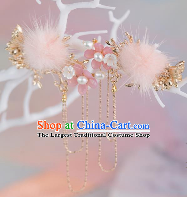 Chinese Handmade Pink Venonat Tassel Hair Claws Hairpins Ancient Princess Hair Accessories Headwear for Women