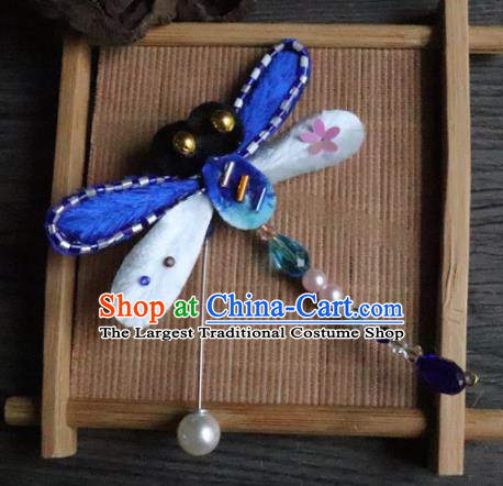 Handmade Chinese Classical Blue Velvet Dragonfly Brooch Ancient Palace Pearls Breastpin for Women