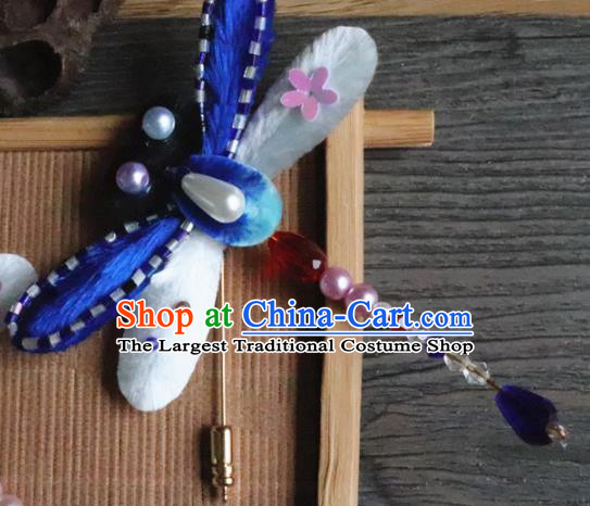 Handmade Chinese Classical Blue Velvet Pearls Dragonfly Brooch Ancient Palace Breastpin for Women