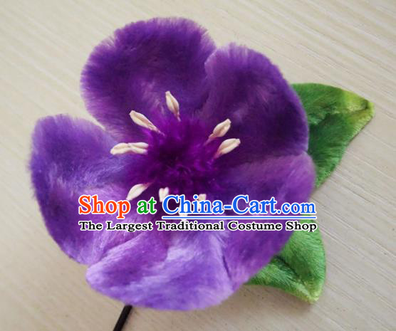 Handmade Chinese Classical Purple Velvet Flowers Brooch Ancient Palace Breastpin for Women