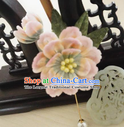 Handmade Chinese Classical Pink Velvet Peony Brooch Ancient Palace Breastpin for Women