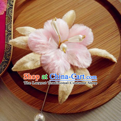 Handmade Chinese Classical Velvet Flower Brooch Ancient Palace Breastpin for Women