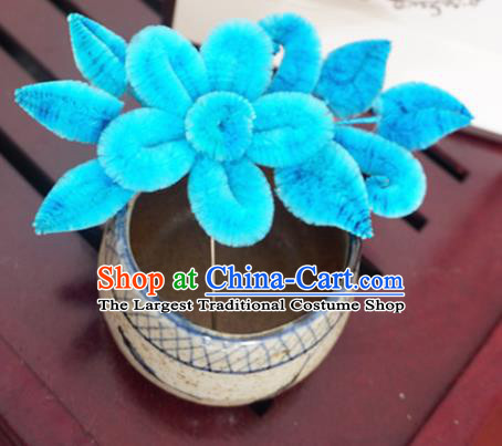Handmade Chinese Classical Blue Velvet Flowers Brooch Ancient Palace Breastpin for Women
