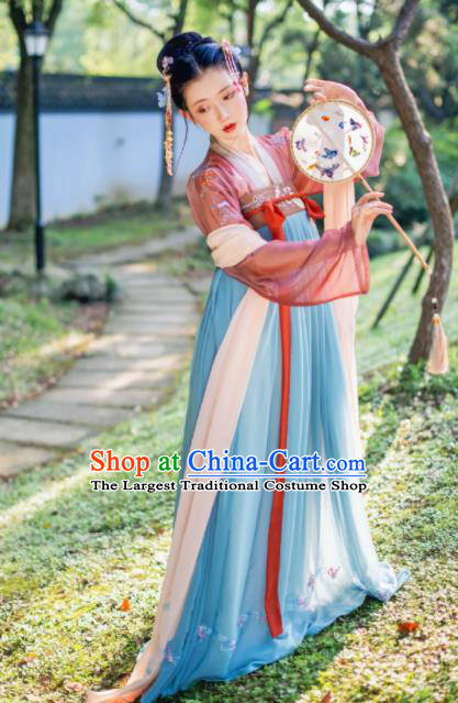 Chinese Traditional Tang Dynasty Imperial Consort Historical Costume Ancient Peri Hanfu Dress for Women