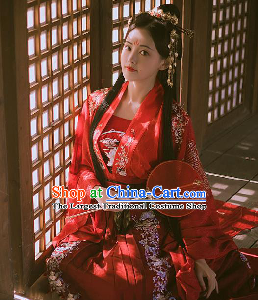 Chinese Traditional Tang Dynasty Wedding Historical Costume Ancient Princess Peri Red Hanfu Dress for Women