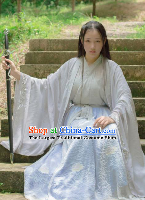 Chinese Traditional Jin Dynasty Swordswoman Historical Costume Ancient Female Knight Hanfu Dress for Women
