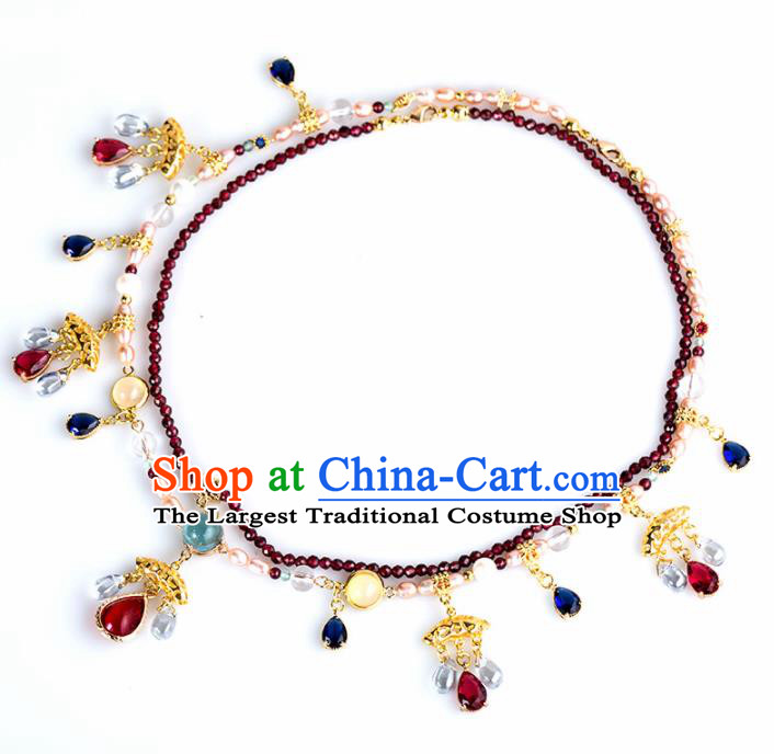 Handmade Chinese Classical Red Crystal Necklace Ancient Palace Hanfu Necklet Accessories for Women