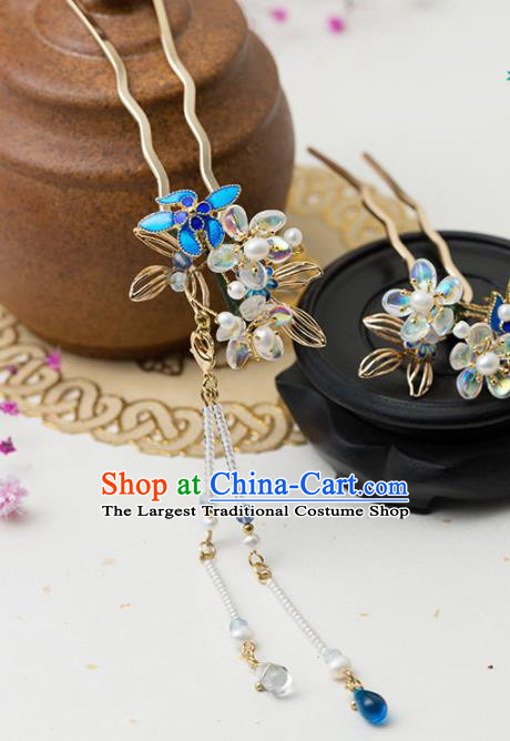 Chinese Handmade Hanfu Blueing Hairpins Tassel Step Shake Ancient Princess Hair Accessories Headwear for Women