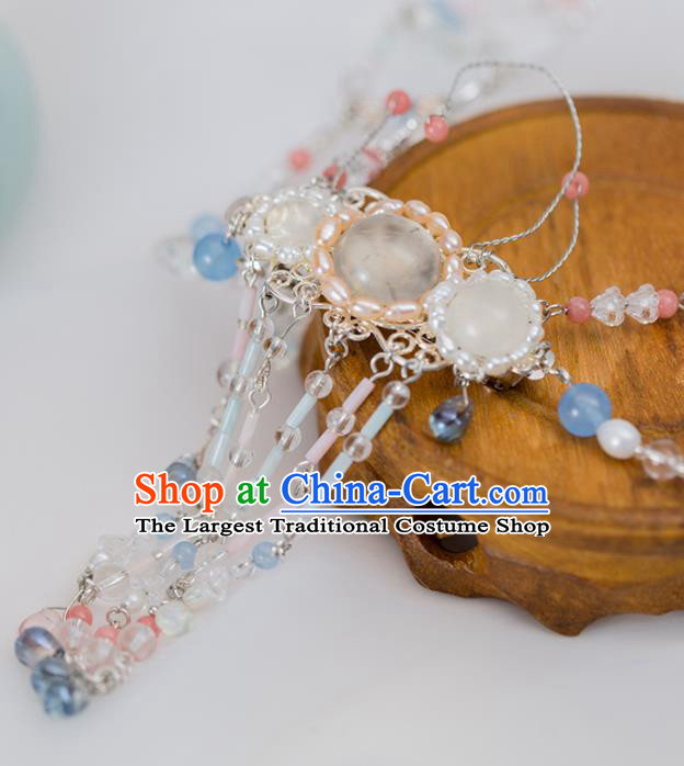 Handmade Chinese Classical Necklace Ancient Palace Hanfu White Chalcedony Necklet Accessories for Women