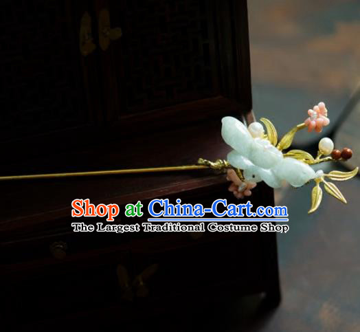 Chinese Handmade Hanfu Jade Butterfly Hairpins Ancient Princess Hair Accessories Headwear for Women