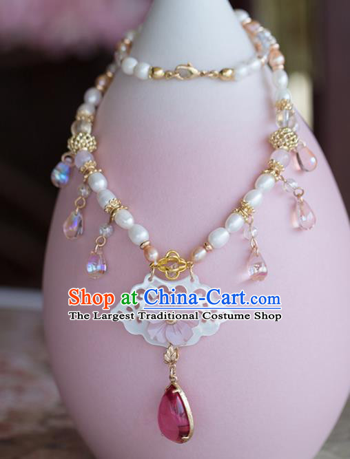 Handmade Chinese Classical Shell Necklace Ancient Palace Hanfu Pearls Necklet Accessories for Women