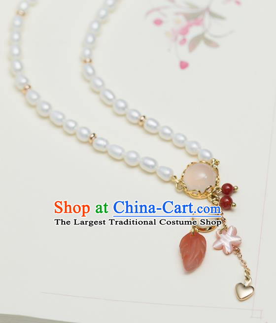 Handmade Chinese Classical Rose Chalcedony Necklace Ancient Palace Hanfu Necklet Accessories for Women