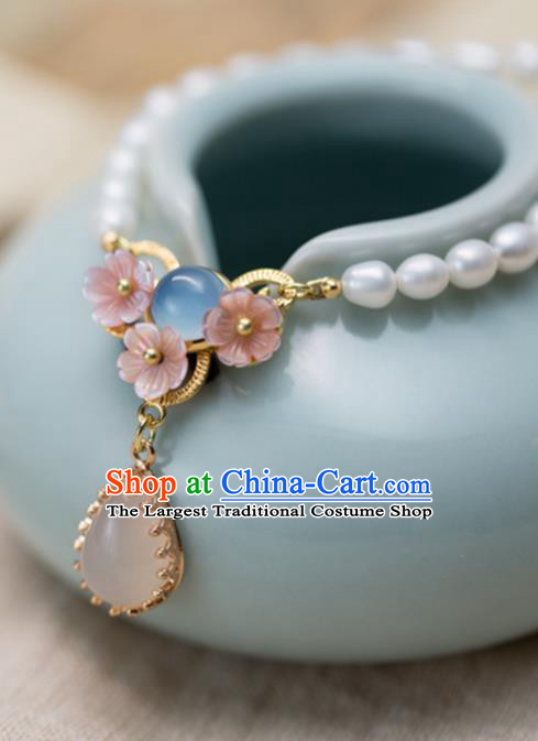Handmade Chinese Classical Necklace Ancient Palace Hanfu Rose Chalcedony Necklet Accessories for Women