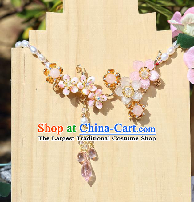 Handmade Chinese Classical Pearls Necklet Ancient Palace Hanfu Necklace Accessories for Women
