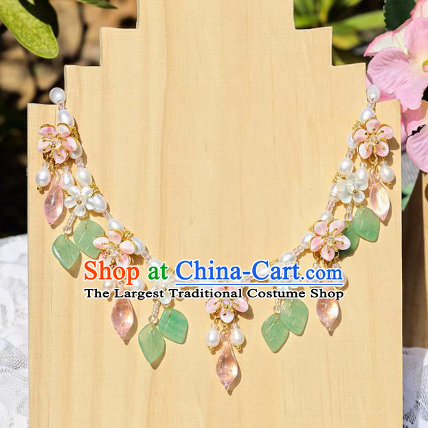 Handmade Chinese Classical Pearls Necklet Ancient Palace Hanfu Leaf Necklace Accessories for Women