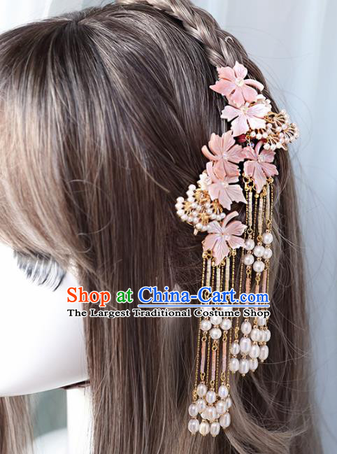 Chinese Handmade Hanfu Pink Shell Flowers Tassel Hairpins Ancient Princess Hair Accessories Headwear for Women