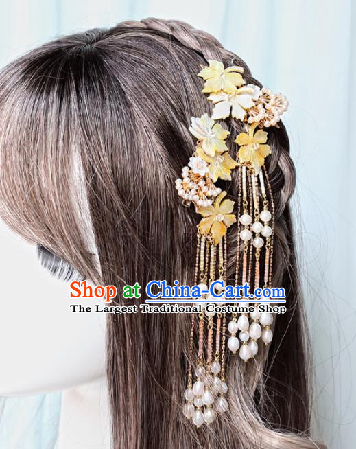 Chinese Handmade Hanfu Yellow Shell Flowers Tassel Hairpins Ancient Princess Hair Accessories Headwear for Women
