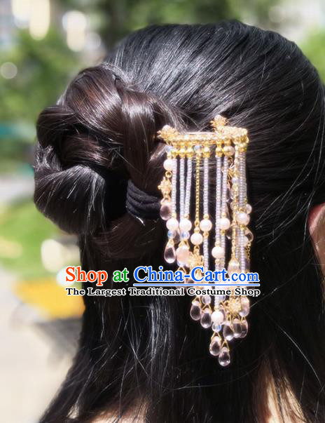 Chinese Handmade Hanfu Golden Hairpins Tassel Step Shake Ancient Palace Princess Hair Accessories Headwear for Women
