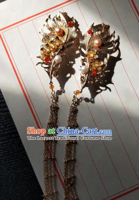 Chinese Handmade Hanfu Golden Feather Hair Claws Hairpins Ancient Palace Princess Hair Accessories Headwear for Women