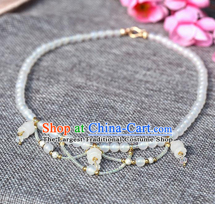 Handmade Chinese Classical White Beads Necklace Ancient Palace Hanfu Necklet Accessories for Women