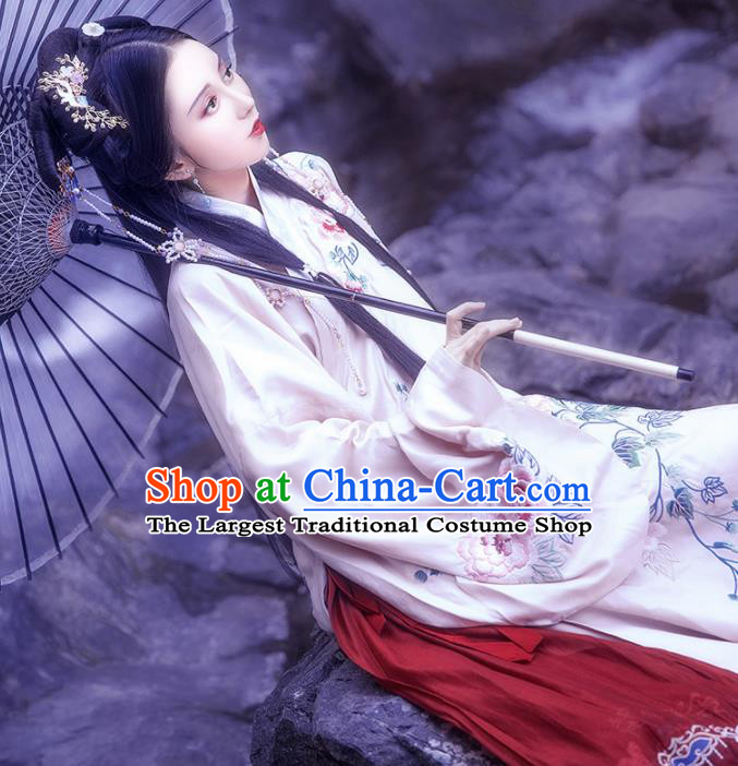 Traditional Chinese Ming Dynasty Court Historical Costume Ancient Palace Princess Embroidered Hanfu Dress for Women