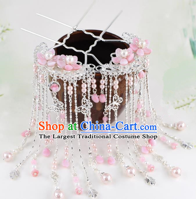 Chinese Handmade Palace Pink Flowers Tassel Hairpins Ancient Princess Hanfu Hair Accessories Headwear for Women