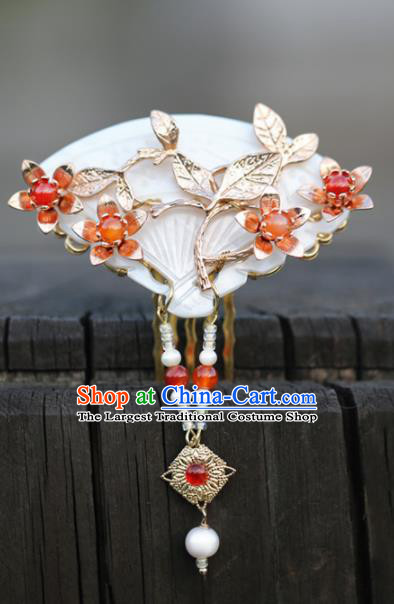 Chinese Handmade Hanfu Shell Hair Comb Hairpins Ancient Palace Princess Hair Accessories Headwear for Women