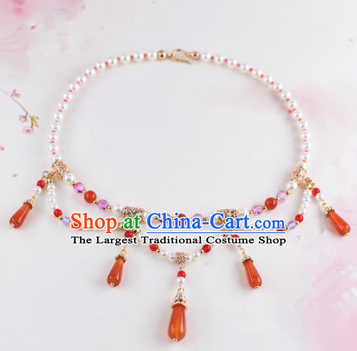 Handmade Chinese Classical Red Agate Necklace Ancient Palace Hanfu Necklet Accessories for Women