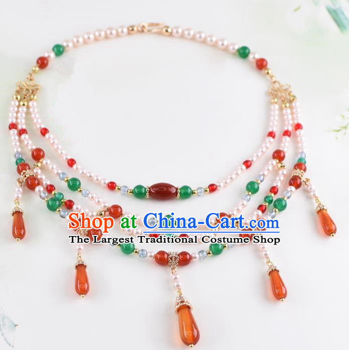 Handmade Chinese Classical Pearls Agate Necklace Ancient Palace Hanfu Necklet Accessories for Women