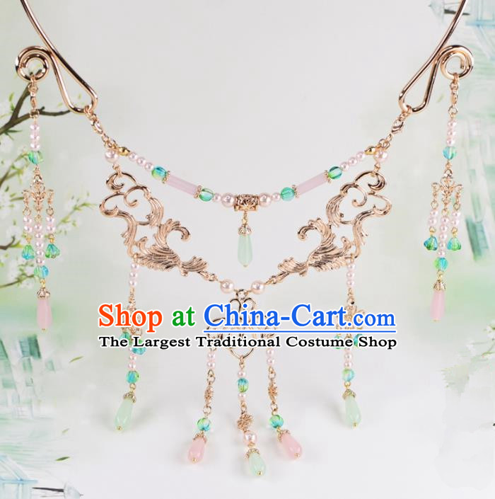Handmade Chinese Classical Rose Chalcedony Tassel Necklace Ancient Palace Hanfu Necklet Accessories for Women