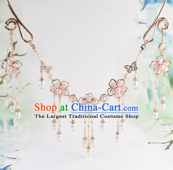 Handmade Chinese Classical Pink Flowers Tassel Necklace Ancient Palace Hanfu Necklet Accessories for Women