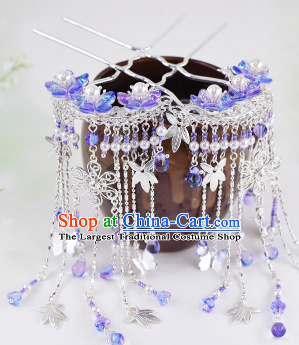 Chinese Handmade Palace Purple Flowers Tassel Hairpins Ancient Princess Hanfu Hair Accessories Headwear for Women