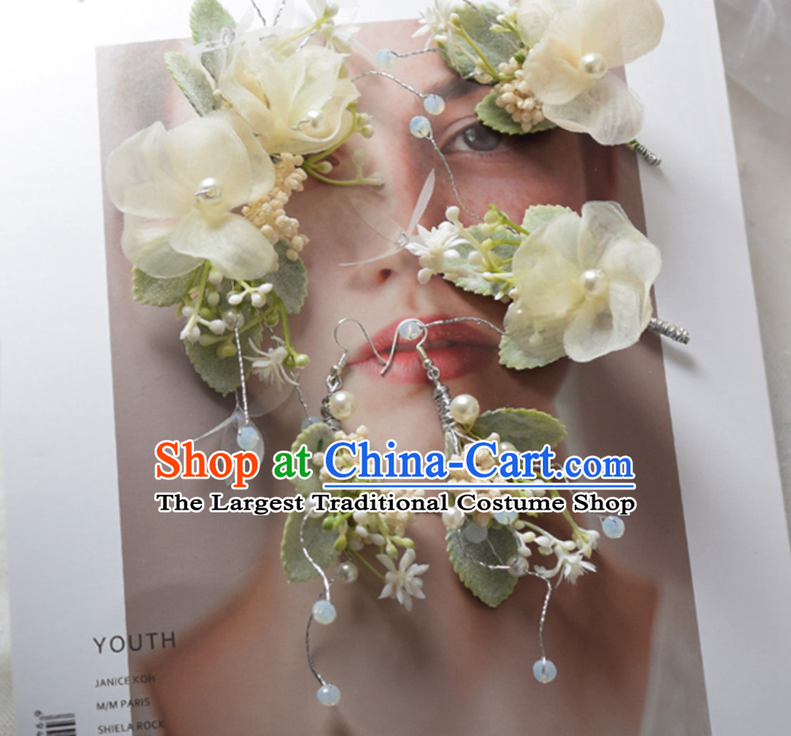 Romantic Handmade Flower Head Gear Garland Hair Jewelries and Earrings Complete Set for Women