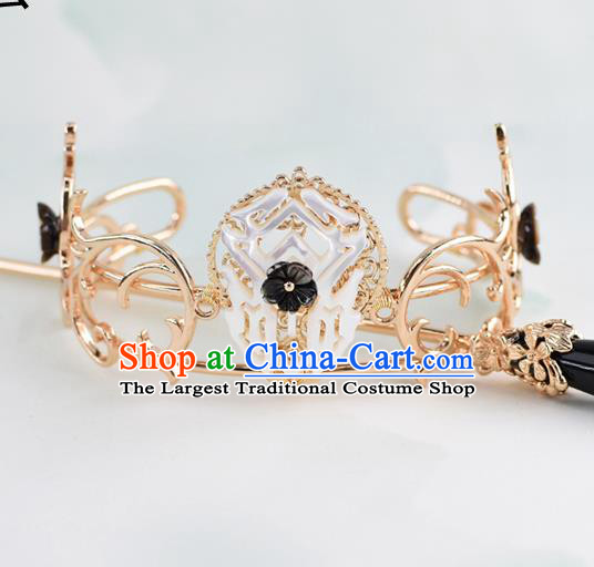 Chinese Traditional Swordsman Hair Accessories Ancient Prince Shell Golden Hairdo Crown for Men