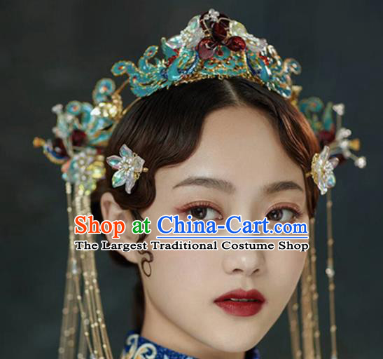 Chinese Handmade Palace Cloisonne Phoenix Coronet Hairpins Ancient Princess Hanfu Hair Accessories Headwear for Women