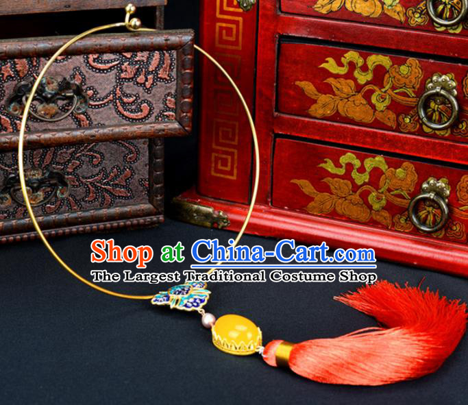 Handmade Chinese Classical Blueing Butterfly Necklace Ancient Palace Hanfu Necklet Accessories for Women