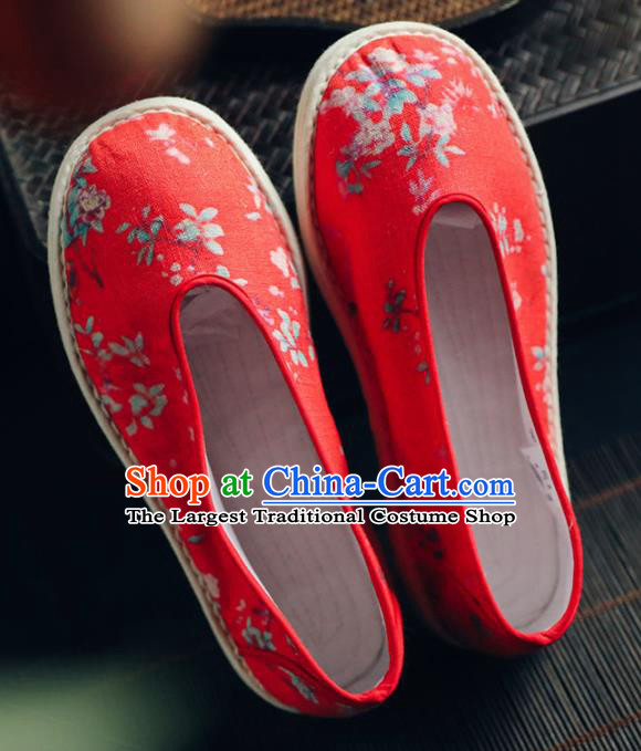 Chinese Handmade Red Cloth Shoes Traditional National Shoes Ancient Princess Wedding Hanfu Shoes for Women