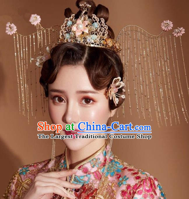 Chinese Handmade Palace Queen Tassel Phoenix Coronet Hairpins Ancient Hair Accessories Headwear for Women