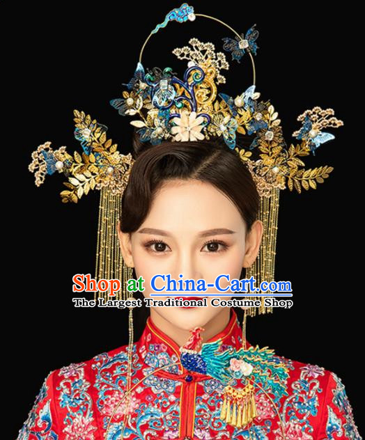 Chinese Handmade Palace Queen Cloisonne Butterfly Phoenix Coronet Hairpins Ancient Hair Accessories Headwear for Women