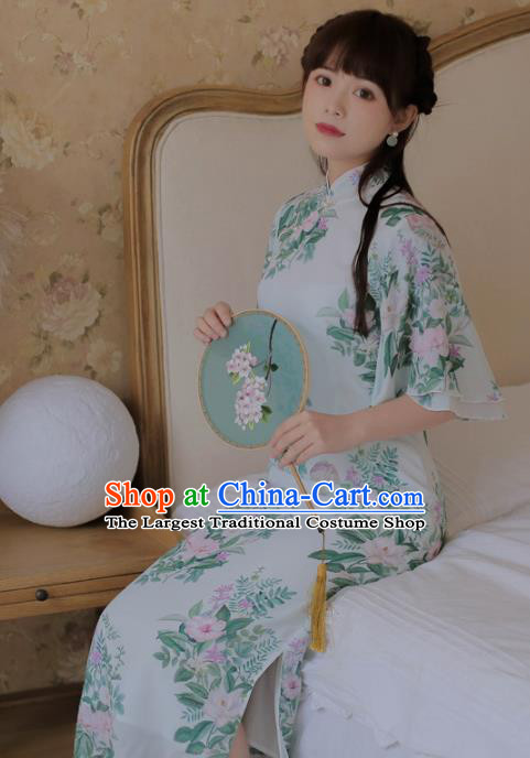 Chinese Classical National Printing Green Cheongsam Traditional Tang Suit Qipao Dress for Women