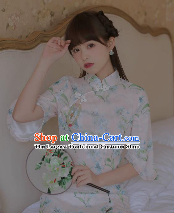 Chinese Classical National Printing White Cheongsam Traditional Tang Suit Qipao Dress for Women