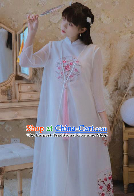 Chinese Classical National White Veil Cheongsam Traditional Tang Suit Qipao Dress for Women