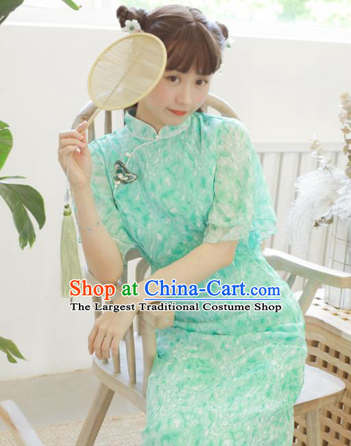 Chinese Classical National Green Veil Cheongsam Traditional Tang Suit Qipao Dress for Women