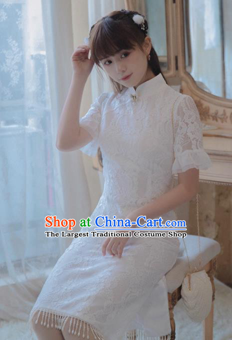 Chinese Classical National White Lace Cheongsam Traditional Tang Suit Qipao Dress for Women
