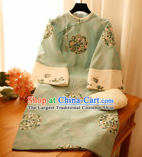 Chinese National Green Cheongsam Traditional Classical Tang Suit Qipao Dress for Women